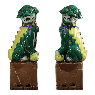 Vintage Chinese Glazed Ceramic Foo Dogs - a Pair