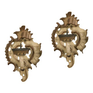 19th Century French Rococo Painted Gilded Sconces - a Pair For Sale