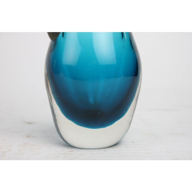 1960s Blue Encased Glass Vase For Sale - Image 4 of 4