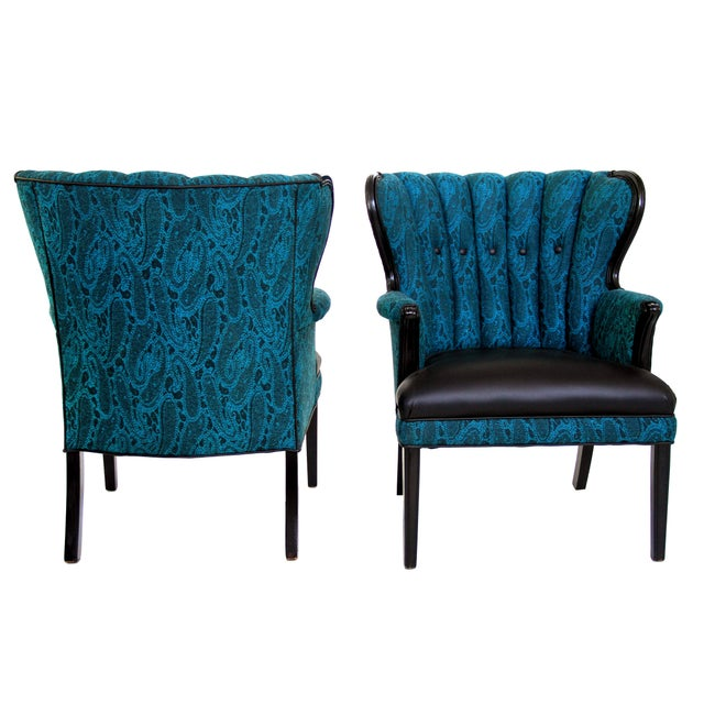 Dark Turquoise High Accent Chair: Mid Century Modern Turquoise & Black Channel Back Accent
