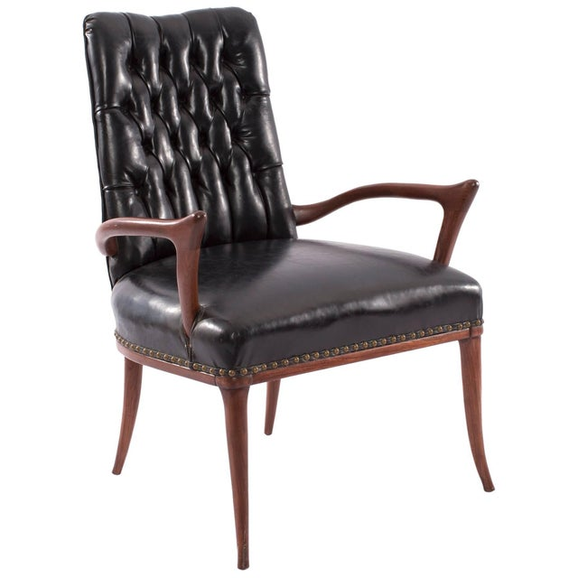 1950s Mid-Century Modern Sculptural Mahogany and Upholstered Armchair For Sale In Phoenix - Image 6 of 6