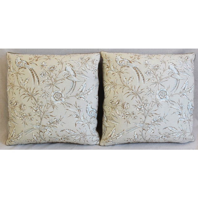 """Custom-tailored pillows in hand-printed Scalamandré """"Aviary"""" linen fabric. Pillow backs are a golden brown tan cotton and..."""