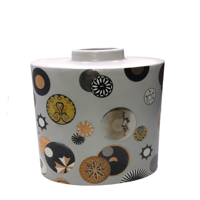 Fabienne Jouvin moon and stars couture boudoir vase. This porcelain vase is a beauty with designs is black, browns and...