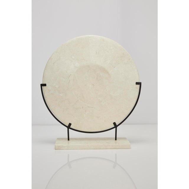 "Modern 1990s Contemporary Marquis Collection Tessellated Stone ""Illusion"" Plate on Iron Stand For Sale - Image 3 of 12"