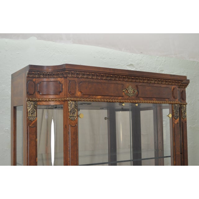 Henredon Grand Provenance French Louis XV Style Burl Wood Curio Display Cabinet For Sale - Image 9 of 12