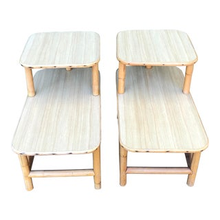 Vintage Two Tier Rattan & Formica Bamboo End Tables - a Pair For Sale