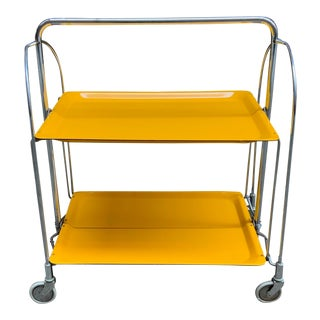 1970s Italian Canary Yellow Folding Trolley Cart For Sale