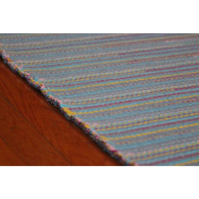 "Flat Weave Wool Striped Blue Kilim Rug - 2'8"" x 7'6"" - Image 6 of 10"