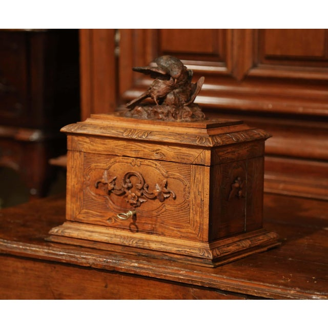 19th Century French Black Forest Carved Walnut Cave a Liqueur With Cigar Holders For Sale - Image 10 of 13