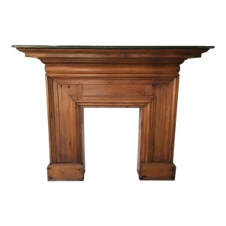 Antique Mahogany Fireplace Mantel With Green Marble Top For Sale