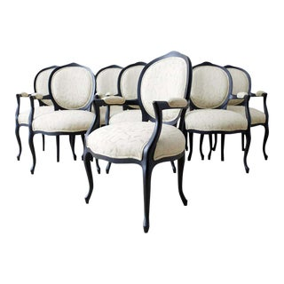 Set of Eight Contemporary Ebonized Dining Armchairs For Sale