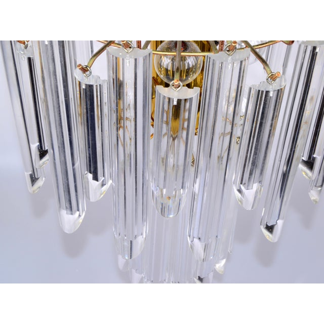 Mid-Century Modern Lucite & Brass Chandelier - Image 7 of 10
