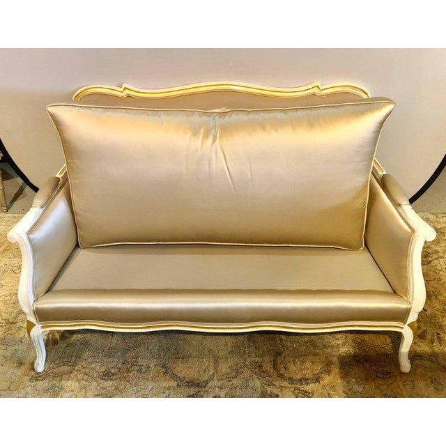 Gilt and Paint Decorated Settee / Loveseat in a Fine Satin Upholstery For Sale - Image 9 of 13
