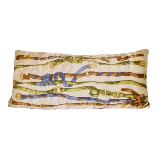 Vintage Quilted Hermes-Style Silk Scarf Pillow Envelope