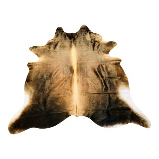 "Brown and Black Brazilian Cowhide Rug - 5'2"" x 5'10"""