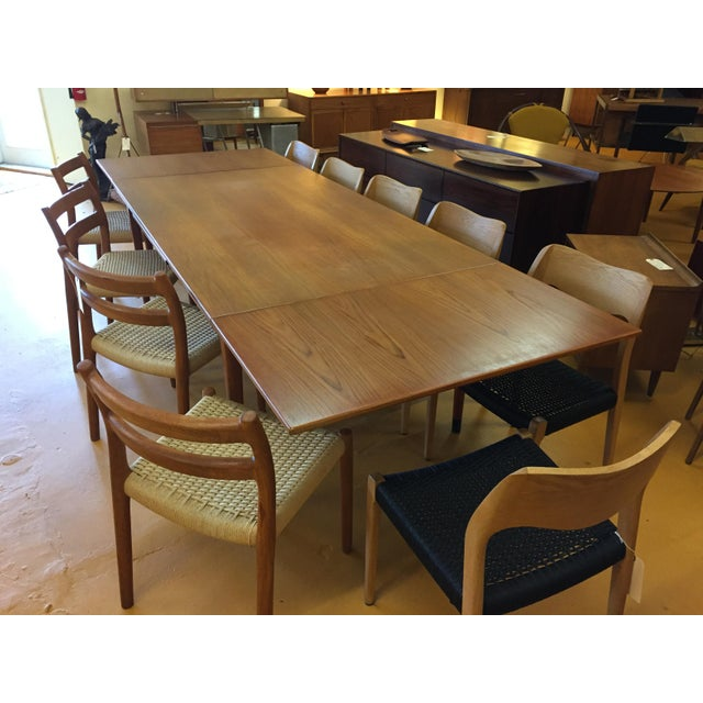 Wood Large Teak Draw Leaf Dining Table by Niels Otto Møller for Jl Møller, Made in Denmark For Sale - Image 7 of 13