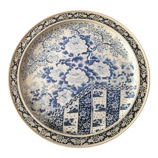 1970s Blue and White Chinoiserie Serving Tray For Sale