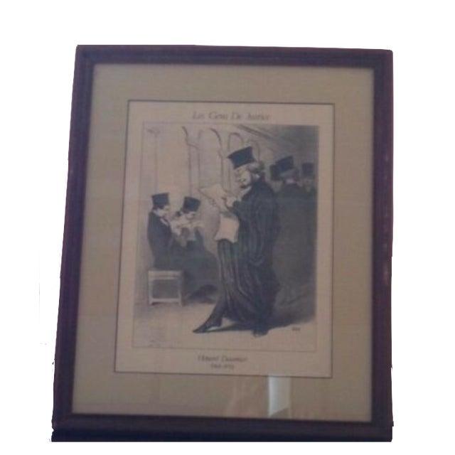 "Gray Vintage Framed Honore Daumier ""Les Gens De Justice"" 885"" Lithograph Print For Sale - Image 8 of 8"