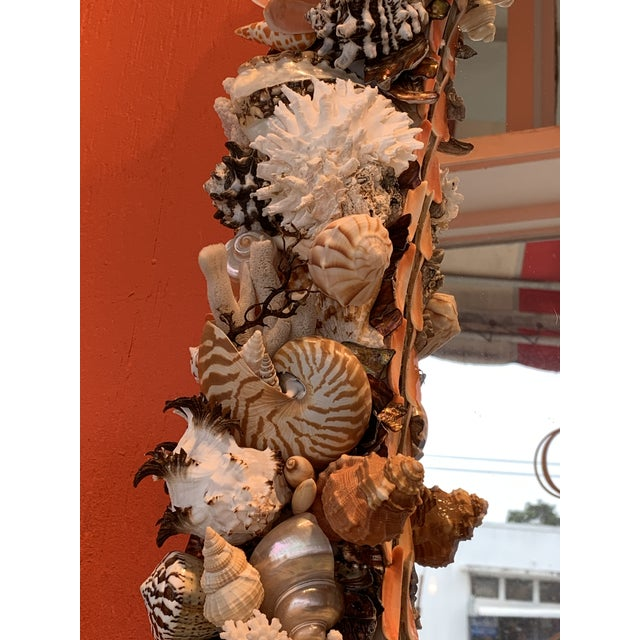 Glass Oval Seashell Encrusted Wall Mirror For Sale - Image 7 of 10
