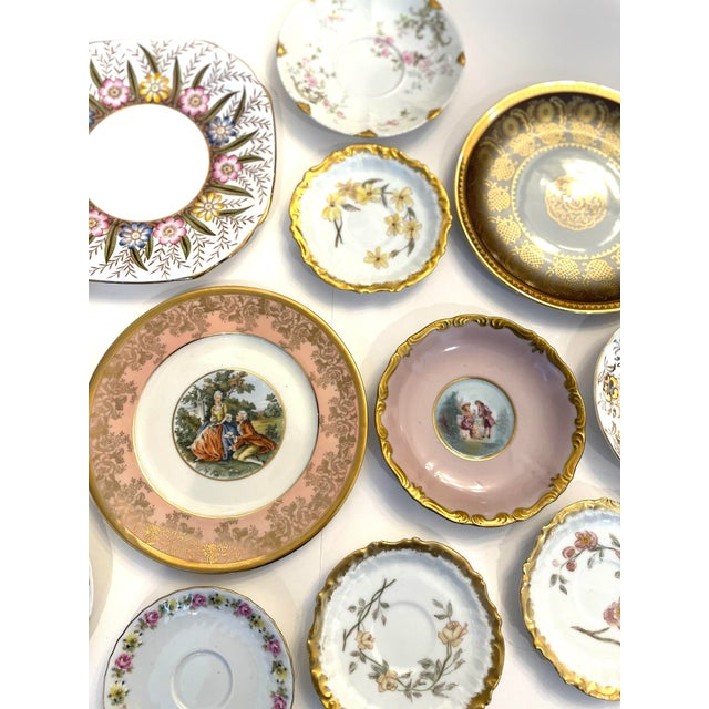 English Vintage Pink and Gold Mixed Decorative Plates- a Set 12 For Sale - Image 3 of 13