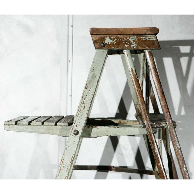Vintage Painted Ladder as a Display Stand For Sale - Image 4 of 10