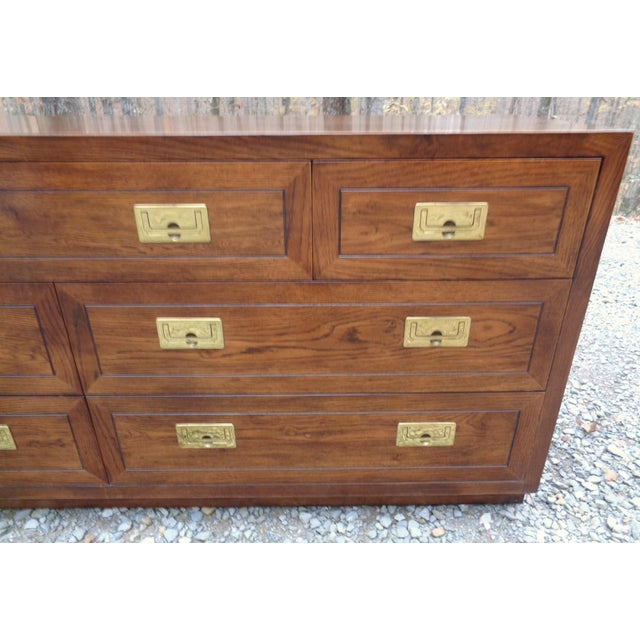 Mid 20th Century Vintage Henredon Campaign Oak Dresser Chest of Drawers For Sale - Image 5 of 13
