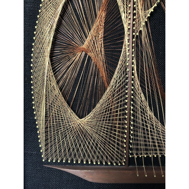Metal Mid-Century Sailboat Wire String Art For Sale - Image 7 of 12
