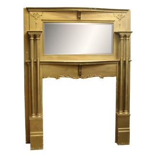 1895 Birch Mantel with Beveled Mirror & Four Fluted Columns For Sale