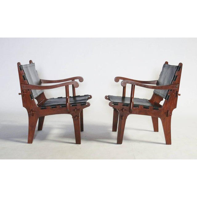 Pair of Angel Pazmino Rosewood and Leather Sling Armchairs - a Pair For Sale - Image 10 of 10