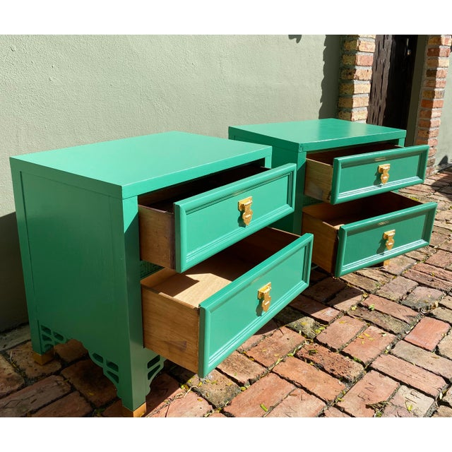 """A beautiful pair of mid-century nightstands from Dixie's """"Shangri La"""" collection, with a brand new jade green finish, and..."""