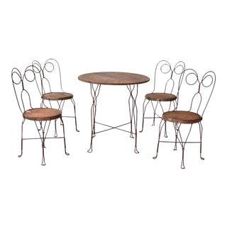 Art Nouveau Wrought Iron Bistro Table Set of 5 For Sale