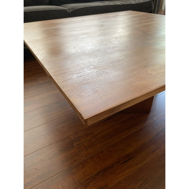 Wood Mid-Century Danish Modern Walnut Square Coffee Table Octagonal Base For Sale - Image 7 of 11