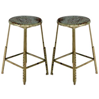 1940s Vintage Industrial Adjustable Bar Stools- A Pair For Sale