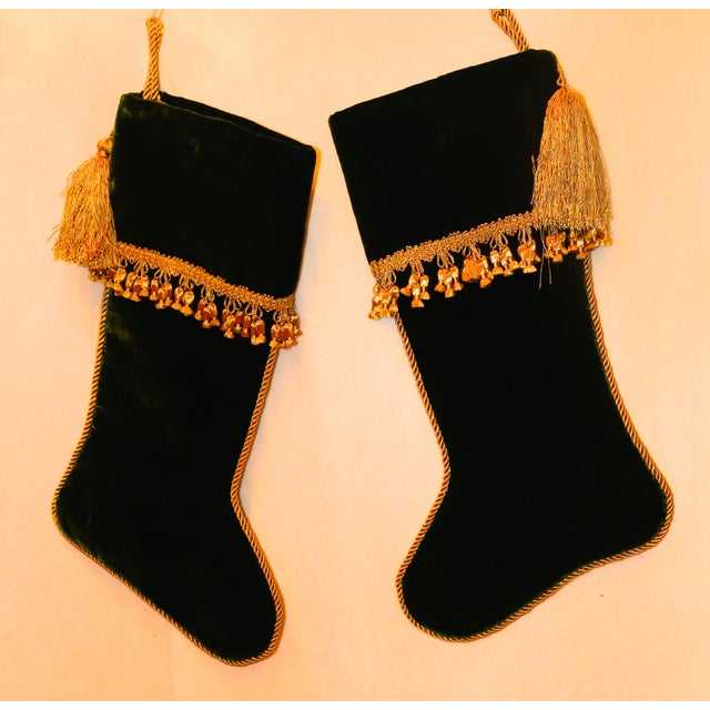 Contemporary Velvet Christmas Stockings With Gold Rope Trim - a Pair For Sale - Image 3 of 3