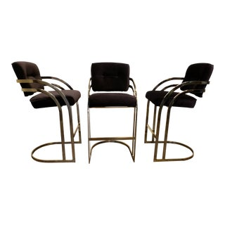 Set of 3 Black and Gold Milo Baughman Chrome Stools For Sale