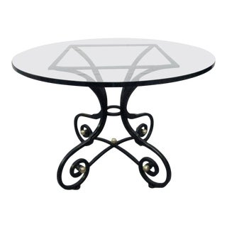French Wrought Iron and Bronze Table For Sale