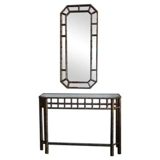 Italian Chinoiserie Mirror & Console For Sale