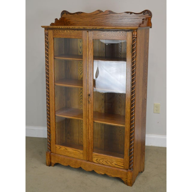 Traditional Antique Victorian Oak 2 Door Bookcase For Sale - Image 3 of 12