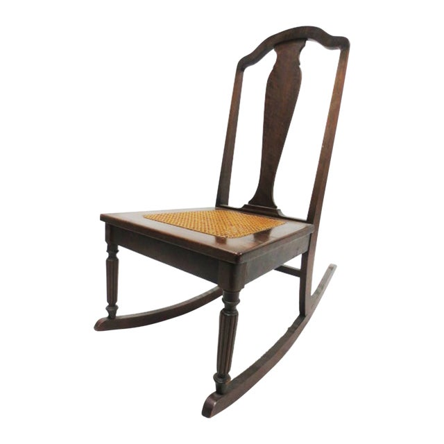 Mahogany Rocker With Caned Seat - Image 1 of 5