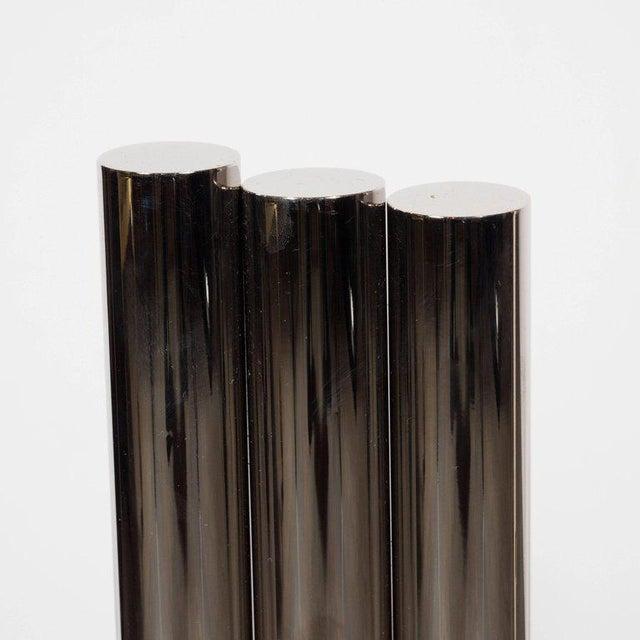 2000 - 2009 Custom Modernist Tubular Polished Nickel Andirons For Sale - Image 5 of 11