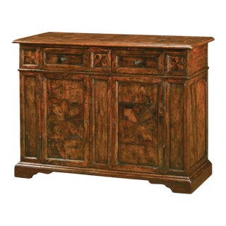 Antiqued Wood Stellar Parquetry Side Cabinet For Sale