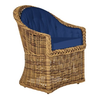 Wicker Works Bowed Front Dining Chair in Pacific Blue For Sale