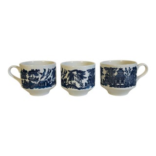 English Churchill Blue Willow Breakfast Cups - Set of 3 For Sale