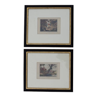 19th Century English Foxhunting Aquatints in Ebonized Frames For Sale