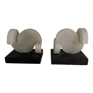 West Elm Marble Bookends - a Pair For Sale