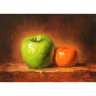 'Green Apple & Orange' Original Oil Painting For Sale