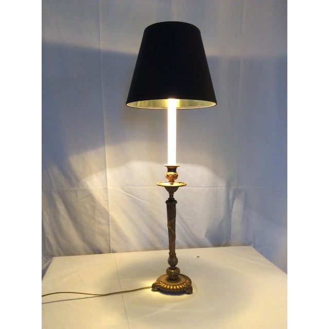 Metal Classical Brass Candlestick Lamp For Sale - Image 7 of 8