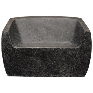 Cast Resin Van Dyke Loveseat, Coal Stone Finish by Zachary A. Design For Sale