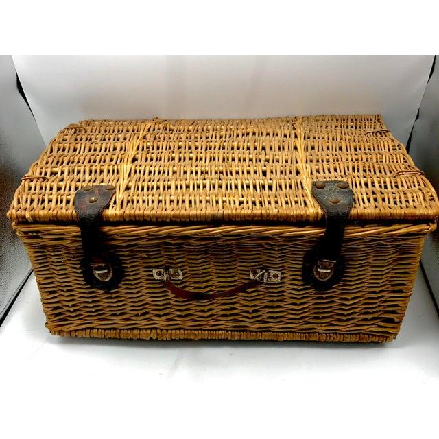 1950s Vintage Wicker Suitcase Basket For Sale - Image 5 of 5