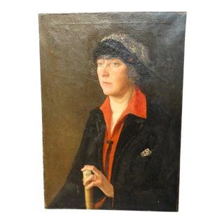 1920s Vintage Portrait of a Woman Painting For Sale
